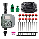 VAlinks Automatic Drip Irrigation System with Digital Timer, Self Watering Kits Garden Irrigation Equipment, 33ft 1/4' Blank Distribution Tubing Hose for Garden, Flower Bed, Lawn