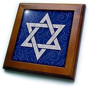 3dRose Star of David Faux Glitter on Blue and Silver Swirls Hanukkah Framed Tile, 6 x 6, Cherry