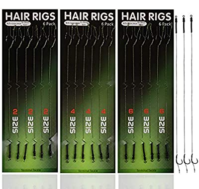 Shaddock Fishing ® 18pcs Carp Fishing Hair Rigs Braided Line Thread 8340 High Carbon Steel Hook Swivel Boilies Carp Rigs Carp Fishing Accessories Terminal Tackle by Shaddock Fishing