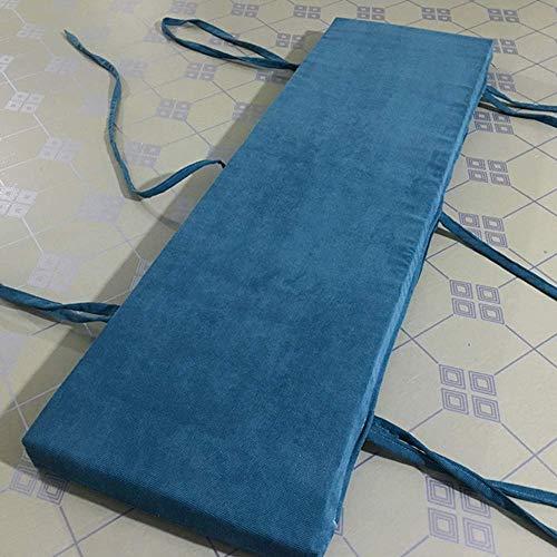 PIVFEDQX Cojín de Banco para Interior y Exterior 2 3 4 Cojín de Banco de Asiento con Cremallera Cojín Antideslizante Lavable extraíble Columpio para Muebles de jardín (Azul 60x30cm)