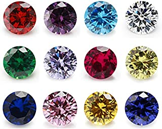 12pcs Size 4mm~10mm Birthday Stone 1pcs Per Colors Round Cubic Zirconia Synthetic Ruby 5# Synthetic Spinel 113# (8mm)