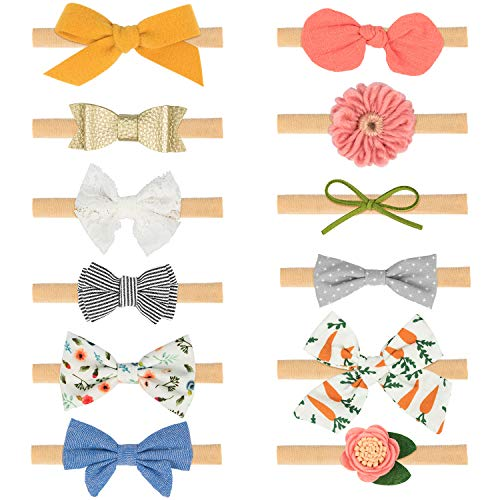 Baby Girl Headbands and Bows 12 Styles, EAONE Soft Nylon Headbands Hair Accessories for Newborn, Toddler Girls