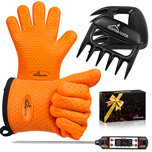 HOMENOTE Grilling Accessories, Meat Claws, Large Barbecue Gloves and BBQ Thermometer 3 in 1 Grill Tools Set- Perfect Grilling Gift for Man, Fathers Day, Christmas