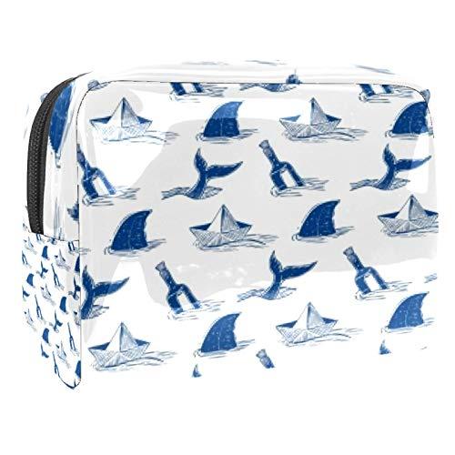 Tragbare Make-up-Tasche mit Reißverschluss, Reise-Kulturbeutel für Frauen, praktische Aufbewahrung, Kosmetiktasche, Messer und Hai