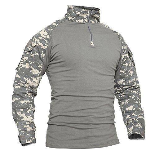 TACVASEN Winter Shirt Men Mountain Berg T-Shirt Herren Snow Schnee Hemd Lange Ärmel Tee Camo Shirts Camouflage Shirt ACU L