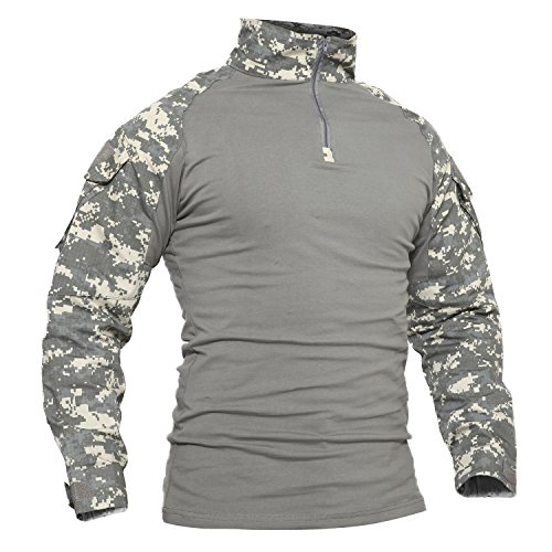 TACVASEN Mountain T-Shirt Men Warm Shirt Camo Jacket Cotton TShirt Camouflage, UK XL (fit Chest 40inches-43inches), ACU Camo