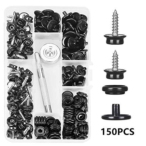 Titoe 150 PCS Canvas Snap Kit, Marine Grade 3/8' Socket Stainless Steel Boat Canvas Snaps with 2 Pcs Setting Tool for Boat Cover Furniture(2 Sizes)