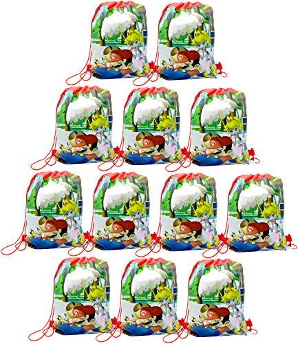 Qemsele Borse Festa per Bambini Borse Sacca 12 PCS, Zaino con Coulisse Sacchettini del per Bambini e Adulti Festa di Compleanno Bambini bomboniare Borsa Sacchetto Festa (Mario 1)