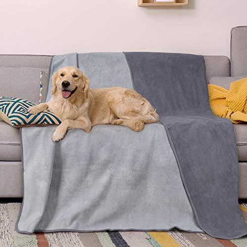 Catalonia - Manta impermeable para cama, reversible, a prueba de perros, mascotas, mantas de forro polar, funda de sofá grande, protector de colchón de barco, color gris