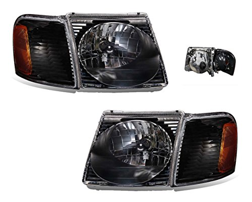 SPPC Sport Trac Crystal Headlights Assembly Set with Corner Black For Ford Explorer - (Pair) Driver Left and Passenger Right Side Replacement Headlamp