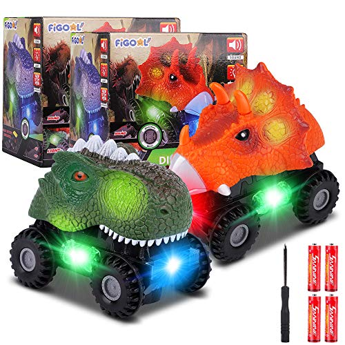 F FiGoal Dinosaur Cars with LED Light Sound Dino Car Toys Car Gifts Animal Vehicles for Boys Girls Toddles Kids Christmas Birthday Easter Gifts Teacher Classroom Prize… (2)