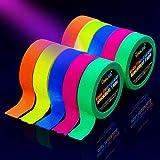 Tape Neon [10 Rotoli] Nastro Fluorescente Neon Tape, UV Blacklight, Glow in The Dark Gaffer Tape, Adesivo,5 Colori,15MM*5M Per Rotolo, Per Forniture Per Feste Black Light Per Halloween