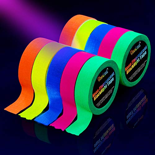 Neon Tape [10 Rollos] Cinta Adhesiva,UV Fluorescente Luz Negra, Neón Gaffer Tape, Glow In The Dark, Blacklight, 5 Colores, 15MM*5M Por Rollo, Para Suministros De Fiesta De Luz Negra Para Halloween