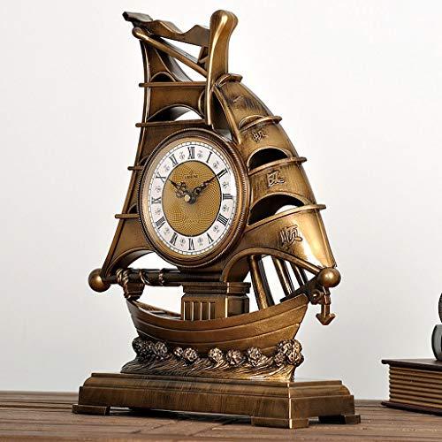 Eeayyygch Vintage Europäische Segel Schreibtischuhr/Dekorative Tischuhr/Schiff Uhren Und Uhren Antike Wohnzimmer Uhr Ornamente (Farbe : C, Größe : -)