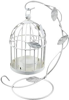 fablcrew 1pcs portavelas faroles en forma de jaula de metal para pájaros decorativo candelabro colgante para boda casa decoración de mesa, metal, blanco, 22*14CM