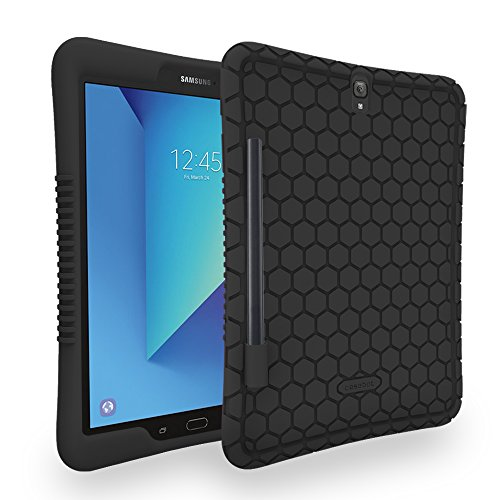 Honey Comb Samsung Galaxy Tab S3 9.7 Case by Fintie - Light Weight Shock Proof Silicone Cover with S Pen Holder [Anti Slip] [Kids Friendly] for Tab S3 9.7 (SM-T820/T825/T827) 2017 Release, Black