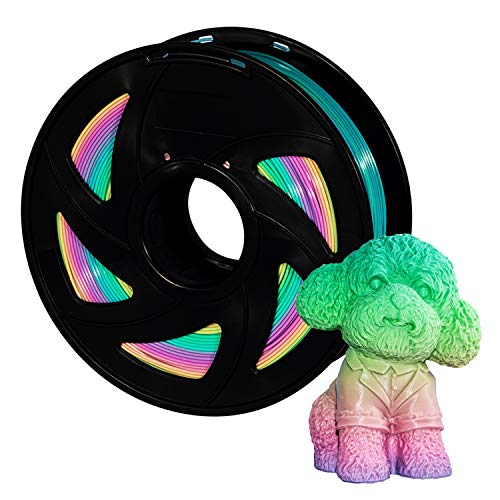 Pla Filament 3D Printer Filament 1.75mm 1kg Rainbow PLA Colour Changing Multicolor Filament 1kg(2.2lbs) Spool Pack XVICO