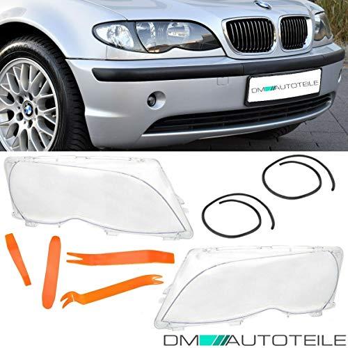DM Autoteile Scheinwerferglas SET + PVC Werkzeug passt für E46 Limousine Touring Facelift