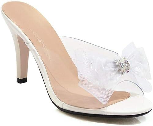 femmeschaussures Sandales pour Femmes, Sweet Bow Femmes Chaussures Chaussures à Talons extérieurs Demi-Sable Sandales,E,43  magasin en ligne