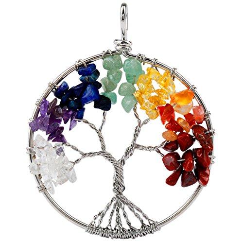 SUNYIK Tumbled Rainbow Color Stone Tree of Life Pendant 18KGP (Rainbow Color Stone Necklace)