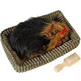 DONREGALOWEB Peluche Perro con Movimiento de respiración, Cepillo y canasto (Yorkshire Terrier)