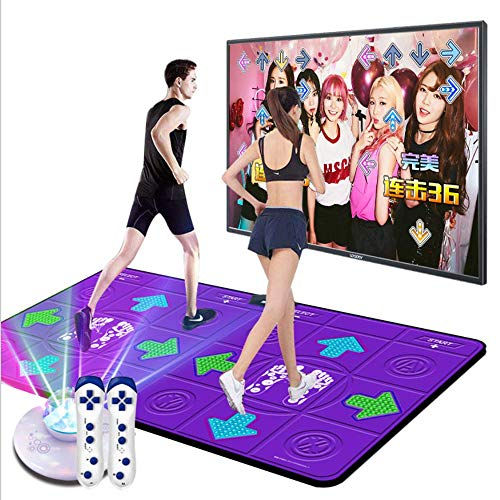MKIU Doppel Thick Tanzen-Matte PVC-Anti-Rutsch bequem haltbar Abriebfest Dynamische Kinder/Erwachsene Gymnastikmatte Dual-Use für TV und Computer