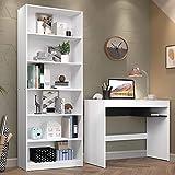 Escrivaninha Madesa Rubi + Estante Livreiro 6908 - Branco