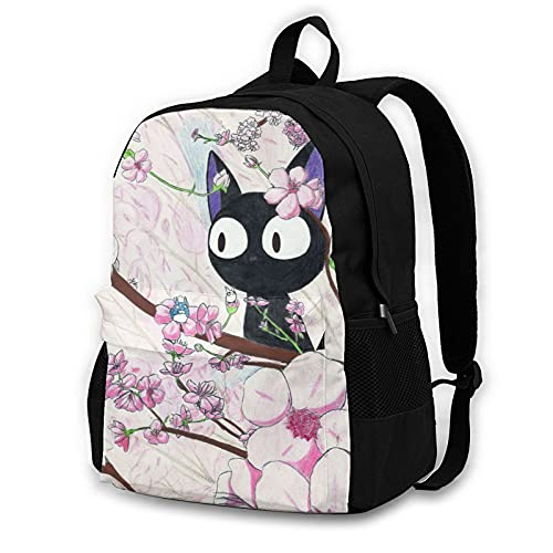 Kiki's Delivery Service Jiji Anime Mochila de viaje Bolsa de libro Mochila para ordenador portátil, impresión 3D, bolsas multifunción de moda, adecuadas para deportes