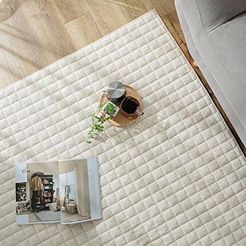 グラムスタイル ラグ カーペット 夏 夏用 キルトラグ 綿100% 洗濯機で洗える 2畳 (190x190cm) ベージュ