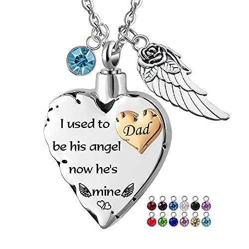 UGBJ Colgantes para Cenizas Collar de la urna de la cremación del corazón para el Colgante conmemorativo de la joyería de Las alas de Ash Angel y el Parto de 12pc, solía ser Usado Sus ángulos