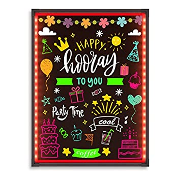 Hosim LED Message Writing Board 32 x24  Illuminated Erasable Neon Effect Restaurant Menu Sign with 8 colors Markers 7 Colors Flashing Mode DIY Message Chalkboard for Kitchen Wedding Promotions  6080