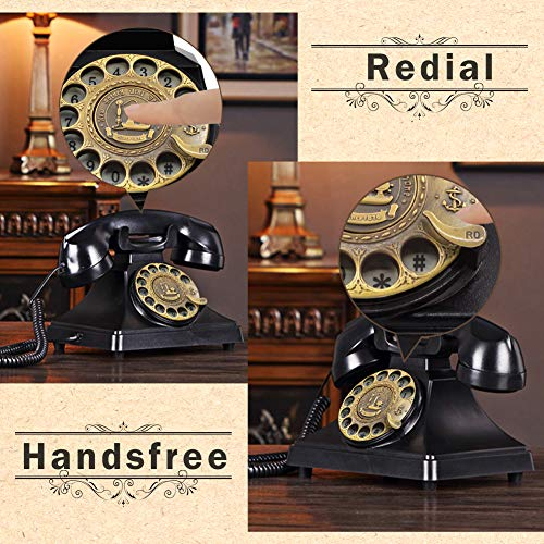 EC VISION Rotary Phones for Landline, Retro Landline Telephone Old Fashion Home Phones with Mechanical Ringer and Speaker Function(Black)