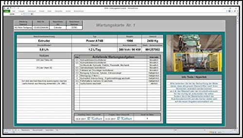 Wartungsplan Wartungssoftware Wartungsmanager Instandhaltungs-software Excel-Wartungsplaner für Maschine