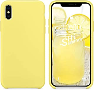 SURPHY Silicone Case for iPhone X iPhone Xs Case, Soft Liquid Silicone Shockproof Phone Case (with Microfiber Lining) Compatible with iPhone Xs (2018)/ iPhone X (2017) 5.8 inches (Yellow)
