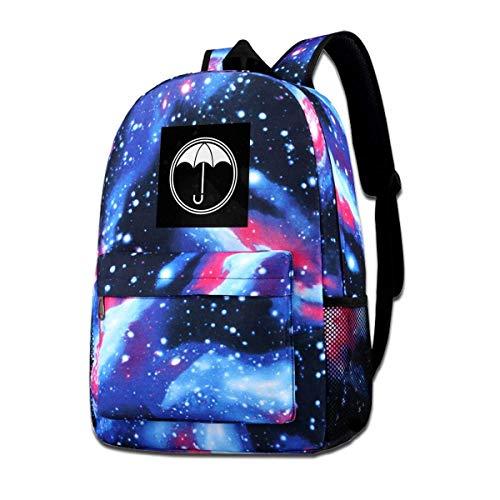 Galaxy Impreso Hombros Bolsa Umbrella Academy Logo Brillante Moda Casual Star Sky Mochila para niños y niñas