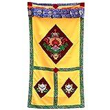 Interact China 100% Artesanía Algodón Tibetano Paño Panel de Puerta Cortina 90 x 180 cm Adorno de Pared #118