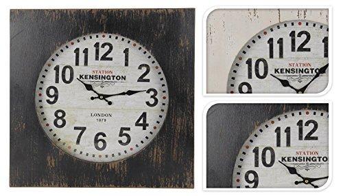 DRULINE wandklok groot retro klok station Kensington London 1879 Shabby Chic houten klok (wit)