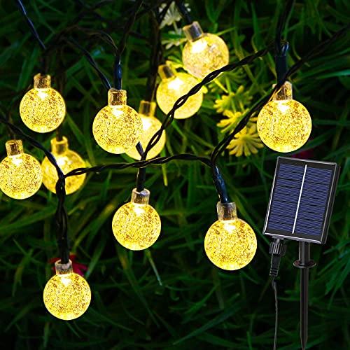 Catena Luminosa Solare - 60 LED 11.5M/37.7FT Luce Stringa Solari Lucine Decorative di Crystal Globe Impermeabile Esterno Illuminazione per Festa, Giardino (Bianco Caldo)