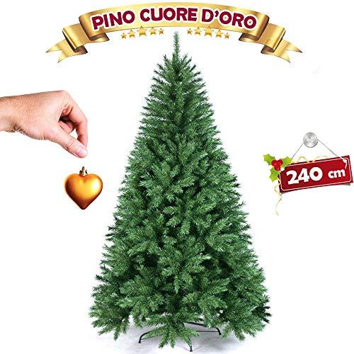 BAKAJI Albero di Natale Pino Cuore d'oro Ecologico e Ignifugo con Base a Croce in Ferro Pieghevole Super Folto Rami Innesto Ad Uncino Colore Verde (240 cm)