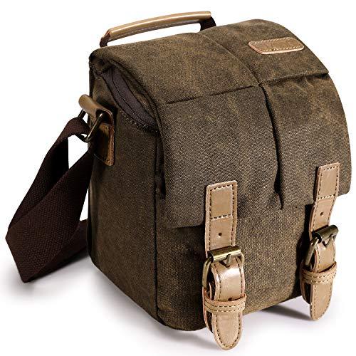 S-ZONE Bolso para Cámara Bolso Bandolera Vintage Cuero Impermeable con Inserto a Prueba de Golpes y Bolso para Tableta para DSLR SLR y Accesorios