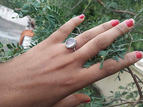 Healing Gemstone Ring for Women,Gift Her Simple Handmade Ring 925 Sterling Silver Rose Quartz Ring Delicate Stacking Ring Delicate Ring