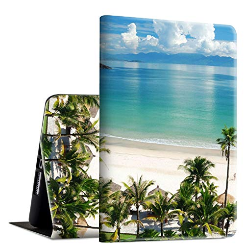 iPad Mini 4 Case, Rossy PU Leather Folio Smart Cover TPU Shock Protection Case with Adjustable Stand & Auto Wake/Sleep Feature for Apple iPad Mini 4th Generation 2015,Beach with Palm Tree