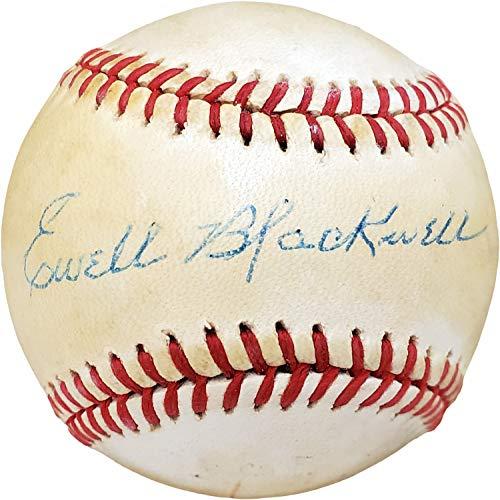 Authentic Autographed Ewell Blackwell Official Feeney National League Baseball Cincinnati, New York Beckett BAS