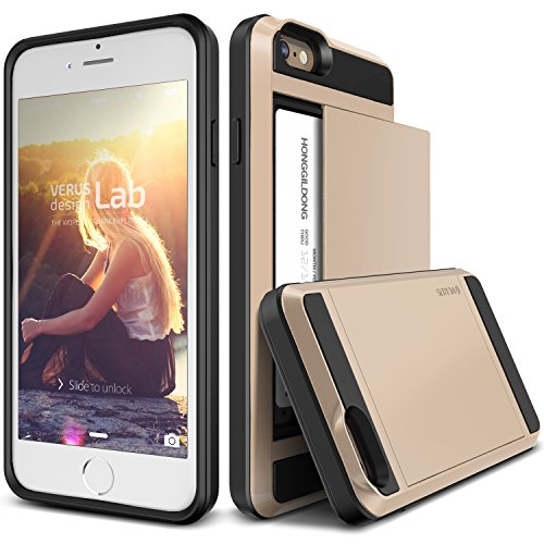 iPhone 6S Plus Case, Verus [Damda Slide][Champagne Gold] - [Wallet Card Slot][Heavy Duty] For Apple iPhone 6 6S Plus 5.5