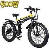 Bicicleta Eléctrica Bicicleta eléctrica, bicicleta de nieve plegable de 26AH de 26 pulgadas de la batería de litio, pantalla LCD y faros LED, neumáticos de 4,0 gratas, 48V500W Batería de litio de liti