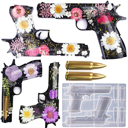 Yalulu DIY Pistola Forma Bola de Resina Epoxi, Moldes de Resina 3D Moldes de Resina de Silicona Resina Molde de Resina Molde de Resina Molde de Resina DIY Resina Casting Formas