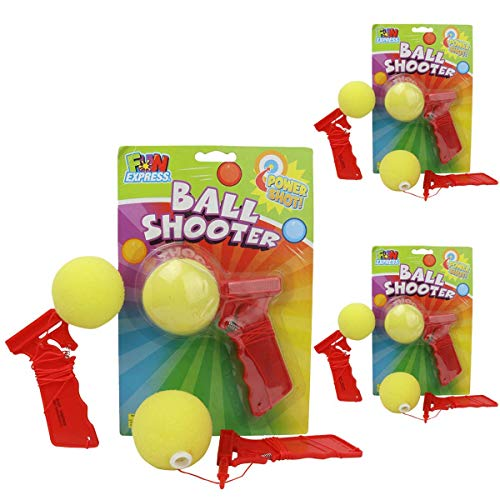 Kicko Sponge Ball Shooter - 5.5 Inches - Pack of 3 - Colors May Vary Shoots Over 3 Feet - Foam Ball Launcher - Party Favors, Bag Stuffers, Fun, Toy, Prize