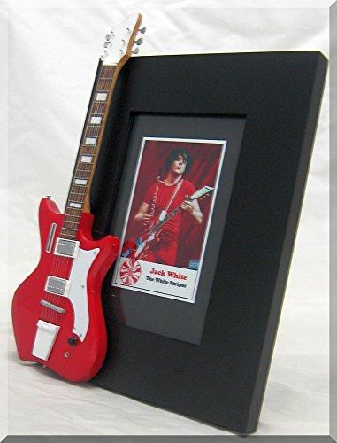 JACK WHITE Miniatur Gitarre Foto Rahmen AIRLINE WHITE STRIPES