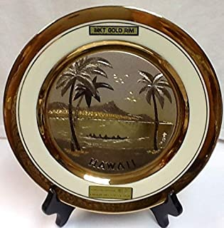 DYNASTY The Art of CHOKIN Fine Porcelain Collectible Plate 24KT Gold Rims (9.5 inches) - Hawaii Canoe w/Palm Tree & Diamond Head Design, Black Color