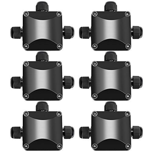 Abzweigdose IP68 Wasserdicht Kabelverbinder Aussen, Zacfton Größere 3-Wege-Verbindungsdose Erdkabel Schwarz Elektrischer Außenverteilerdose, 6er-Pack